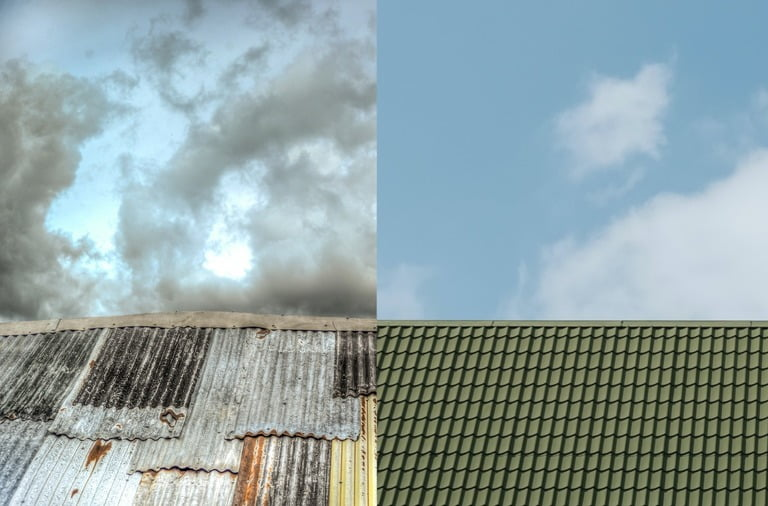 Comparison of Old roof and roof restoration