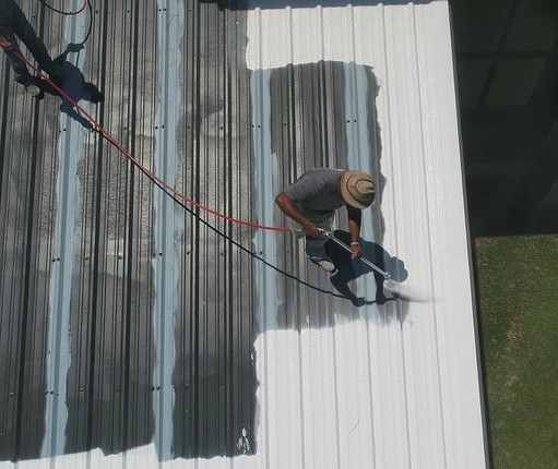 Roof Coating and Restoration in process
